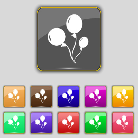 aerostatics: Balloons icon sign. Set with eleven colored buttons for your site. illustration