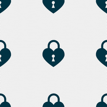 encrypt: Lock in the shape of heart icon sign. Seamless pattern with geometric texture. illustration Stock Photo