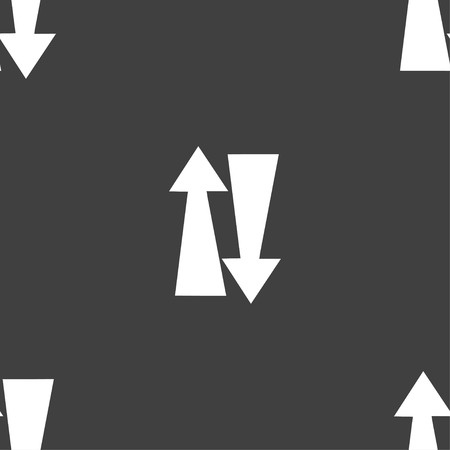 two way traffic: Two way traffic, icon sign. Seamless pattern on a gray background. illustration