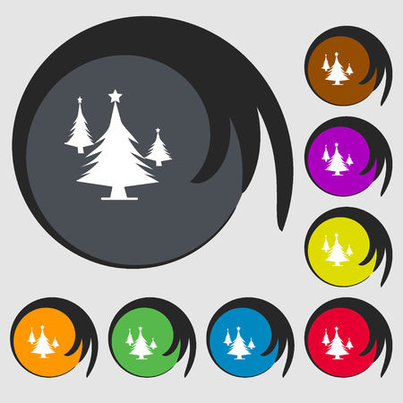 coniferous forest: coniferous forest, tree, fir-tree sign icon. Symbols on eight colored buttons. illustration