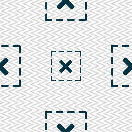 Cross in square icon sign. Seamless pattern with geometric texture. illustration