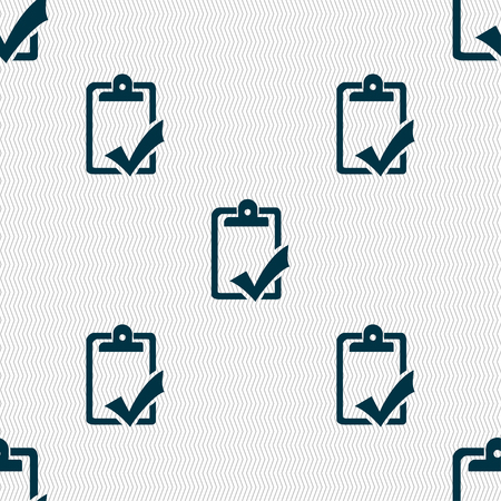 report icon: Document grammar control, Test, work complete icon sign. Seamless pattern with geometric texture. illustration Stock Photo