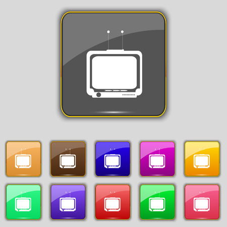 tvset: TV icon sign. Set with eleven colored buttons for your site. illustration