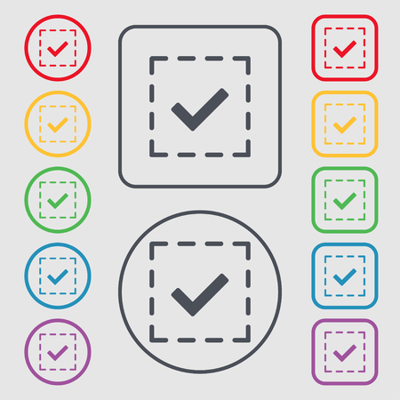 Check mark, tik icon sign. symbol on the Round and square buttons with frame. illustration