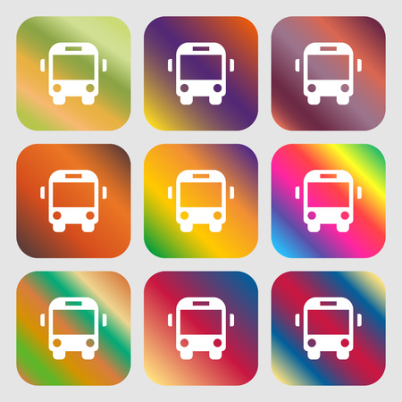 schoolbus: Bus icon. Nine buttons with bright gradients for beautiful design. Vector illustration Illustration