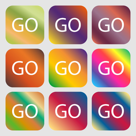 proceed: GO sign icon . Nine buttons with bright gradients for beautiful design. Vector illustration Illustration