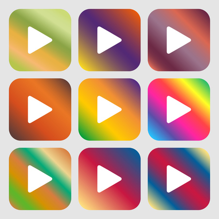 inactive: play icon. Nine buttons with bright gradients for beautiful design. Vector illustration