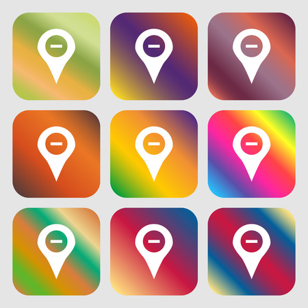 Minus Map pointer, GPS location icon. Nine buttons with bright gradients for beautiful design. Vector illustration Illustration