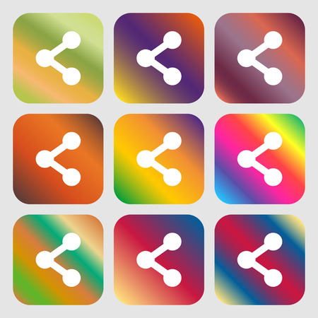 regular tetragon: Share icon. Nine buttons with bright gradients for beautiful design. Vector illustration