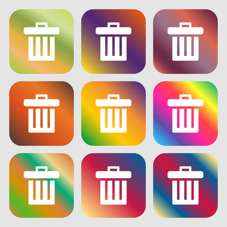 refuse bin: Recycle bin icon. Nine buttons with bright gradients for beautiful design. Vector illustration