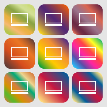ultrabook: Laptop sign icon. Notebook pc symbol . Nine buttons with bright gradients for beautiful design. Vector illustration