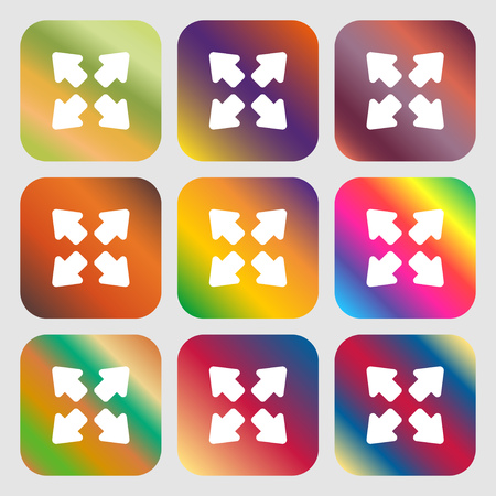 screen size: Deploying video, screen size icon. Nine buttons with bright gradients for beautiful design. Vector illustration