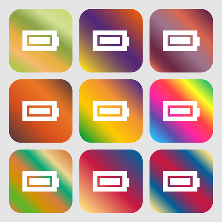 fully: Battery fully charged icon. Nine buttons with bright gradients for beautiful design. Vector illustration