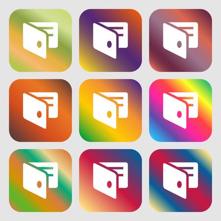 business card holder: eWallet, Electronic wallet, Business Card Holder icon. Nine buttons with bright gradients for beautiful design. Vector illustration Illustration