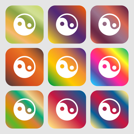 daoism: Ying yang icon. Nine buttons with bright gradients for beautiful design. Vector illustration Illustration