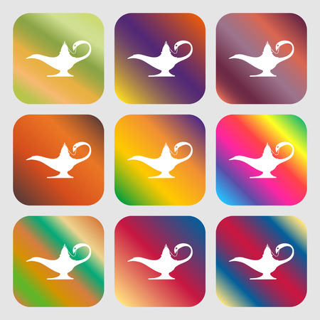 alladin: Alladin lamp genie sign icon . Nine buttons with bright gradients for beautiful design. Vector illustration Illustration