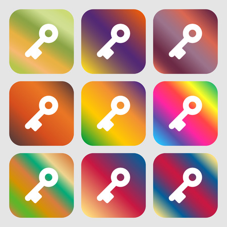 close account: Key icon. Nine buttons with bright gradients for beautiful design. Vector illustration
