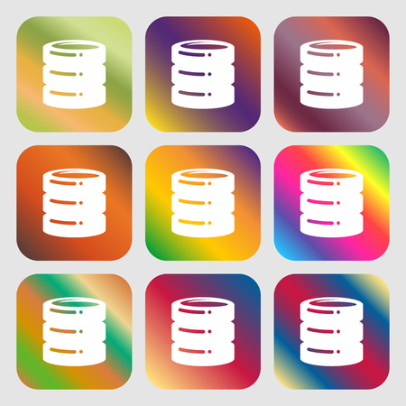 hard drive, date base icon. Nine buttons with bright gradients for beautiful design. Vector illustration Illustration