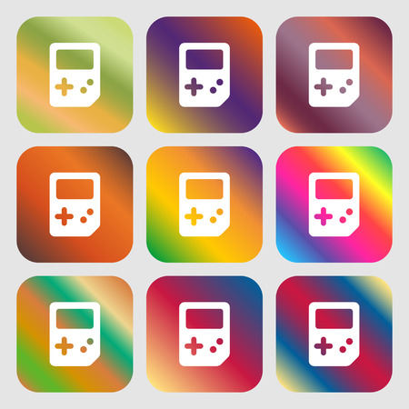 tetris: Tetris icon. Nine buttons with bright gradients for beautiful design. Vector illustration