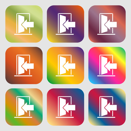door buttons: Door Enter or exit icon sign . Nine buttons with bright gradients