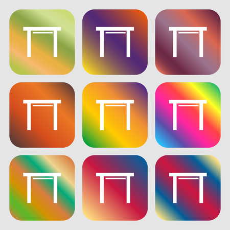 furnishing: stool seat icon sign . Nine buttons with bright gradients for beautiful design. Vector illustration Illustration