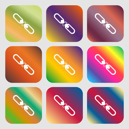 interlink: Broken connection flat single icon . Nine buttons with bright gradients for beautiful design. Vector illustration Illustration