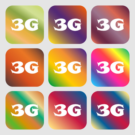 3g: 3G sign icon. Mobile telecommunications technology symbol . Nine buttons with bright gradients for beautiful design. Vector illustration