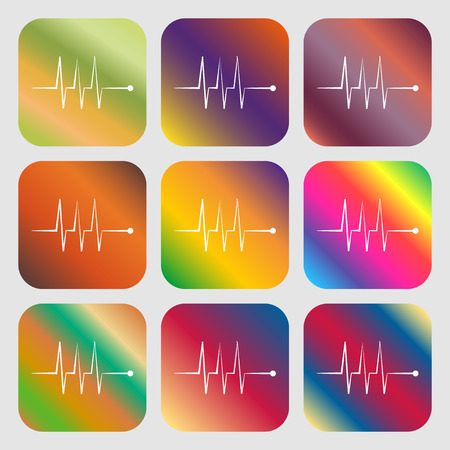 heart beats: Cardiogram monitoring sign icon. Heart beats symbol . Nine buttons with bright gradients for beautiful design. Vector illustration Illustration