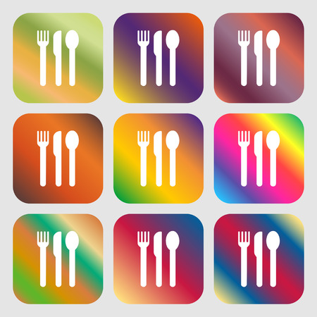 fork knife spoon: fork, knife, spoon icon. Nine buttons with bright gradients for beautiful design. Vector illustration Illustration