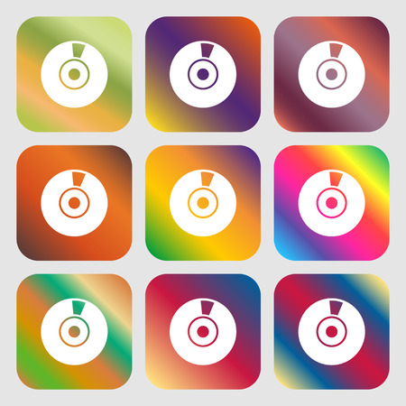CD or DVD icon sign . Nine buttons with bright gradients for beautiful design. Vector illustration
