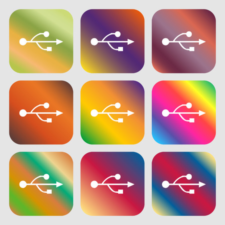 USB icon. Nine buttons with bright gradients for beautiful design. Vector illustration Illustration
