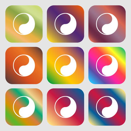 Yin Yang icon. Nine buttons with bright gradients for beautiful design. Vector illustration