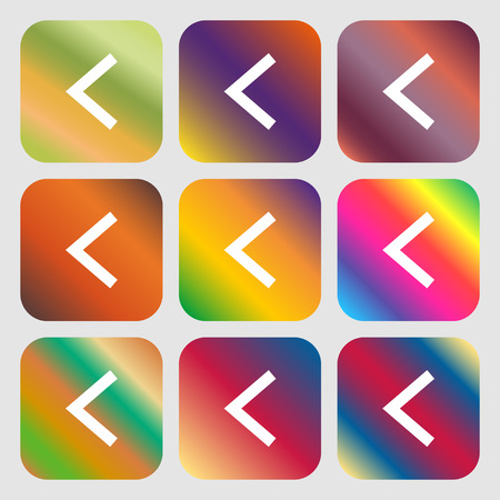 Arrow left, Way out icon. Nine buttons with bright gradients for beautiful design. Vector illustration