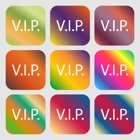 very important person: Vip sign icon. Membership symbol. Very important person . Nine buttons with bright gradients for beautiful design. Vector illustration