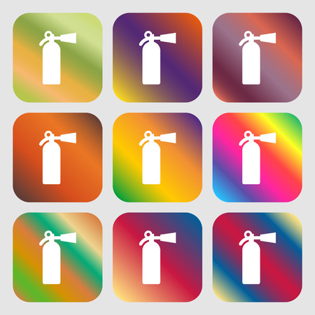 suppression: fire extinguisher icon. Nine buttons with bright gradients for beautiful design. Vector illustration