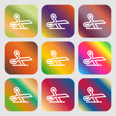 disclosed: scissors icon. Nine buttons with bright gradients for beautiful design. Vector illustration Illustration