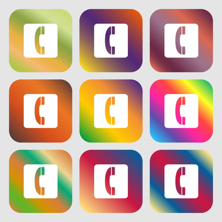 icône du combiné. Neuf boutons avec des dégradés lumineux pour un beau design. Illustration vectorielle