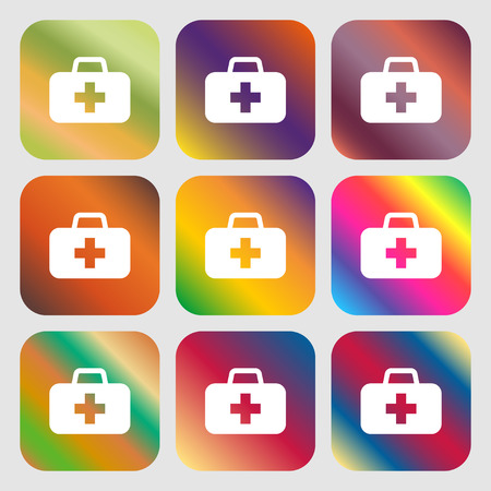 medicine chest: medicine chest icon. Nine buttons with bright gradients for beautiful design. Vector illustration