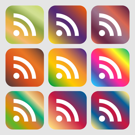 rss feed: RSS feed icon. Nine buttons with bright gradients for beautiful design. Vector illustration