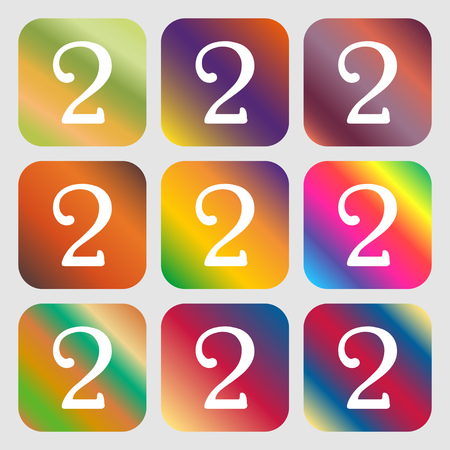 second place: Second place award sign. Winner symbol. Step two. . Nine buttons with bright gradients for beautiful design. Vector illustration