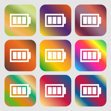 fully: Battery fully charged sign icon. Electricity symbol . Nine buttons with bright gradients for beautiful design. Vector illustration