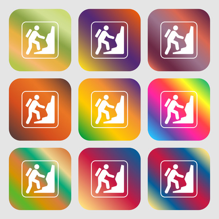 clambering: rock climbing sign icon . Nine buttons with bright gradients for beautiful design. Vector illustration
