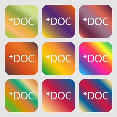 doc: File document icon. Download doc button. Doc file extension symbol . Nine buttons with bright gradients for beautiful design. Vector illustration Illustration
