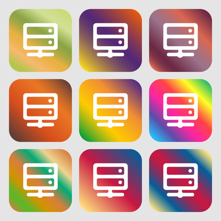 raid: Server icon. Nine buttons with bright gradients for beautiful design. Vector illustration