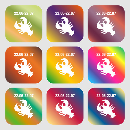 set symbols: zodiac Cancer sign icon . Nine buttons with bright gradients for beautiful design. Vector illustration Illustration