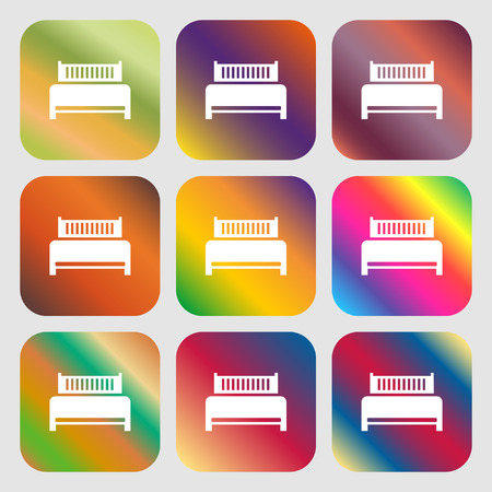 hotel bed: Hotel, bed icon sign . Nine buttons with bright gradients for beautiful design. Vector illustration Illustration
