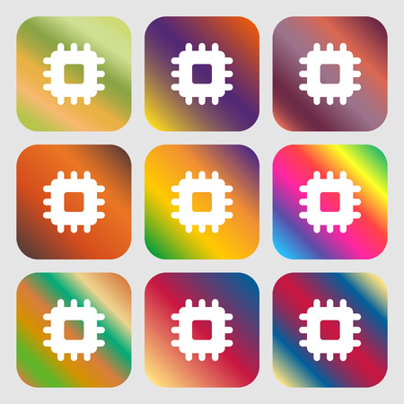 transistor: Central Processing Unit icon. Nine buttons with bright gradients for beautiful design. Vector illustration