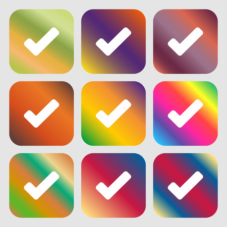 Check mark, tik icon. Nine buttons with bright gradients for beautiful design. Vector illustration Illustration