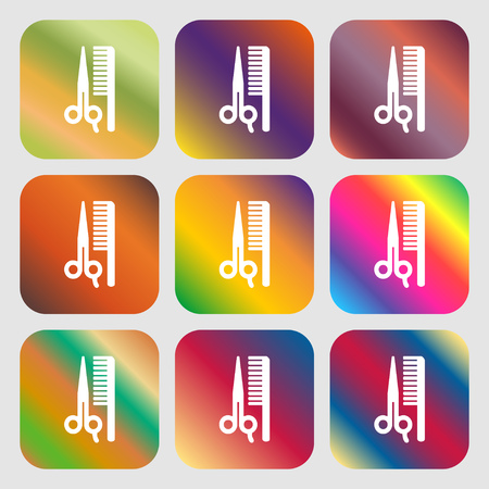 coiffeur: hair icon. Nine buttons with bright gradients for beautiful design. Vector illustration Illustration