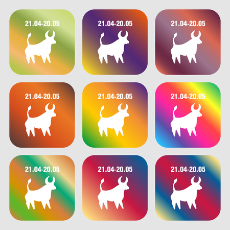 ecliptic: Taurus sign icon . Nine buttons with bright gradients for beautiful design. Vector illustration Illustration